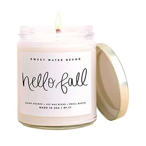 Sweet Water Decor Hello Fall Candle | Cinnamon, Apples, and Clove Autumn Scented Soy Candles for Home | 9oz Clear Glass Jar, 40 Hour Burn Time, Made in the USA