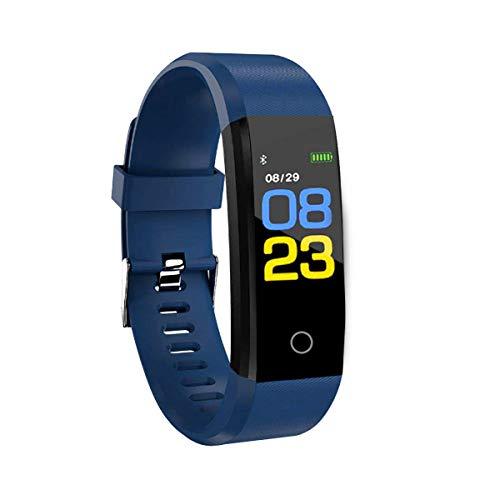 RBNANA Reloj de actividad física, rastreador de actividad para hombres, mujeres y niños, reloj inteligente impermeable con monitor de sueño, contador de pasos y monitor de frecuencia cardíaca, azul