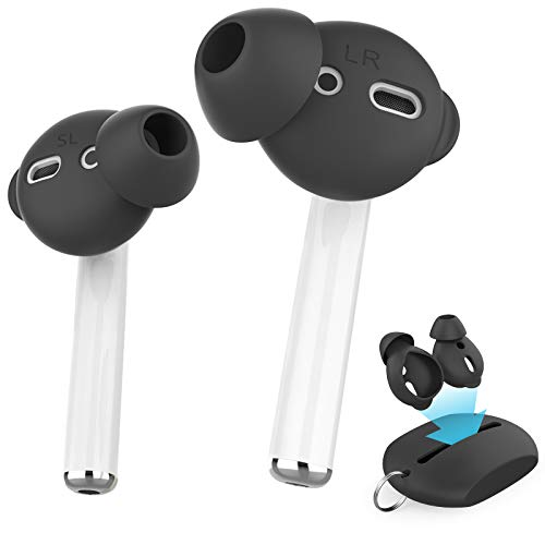 AhaStyle 4 Pairs AirPods Ear Tips Silicone Earbuds Cover【Not Fit in The Charging Case】 Compatible with Apple AirPods/AirPods 2/ EarPods (2 Pair Large & 2 Pairs Small, Black)