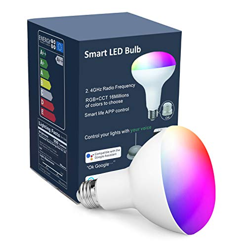 OHLUX Smart Light Bulbs,BR30 WiFi Flood Lamp,10W 900LM,App Remote Control,Dimmable Multicolored LED,E26 Base,100-240V,Compatible with Alexa Google Assistant 1-Pack