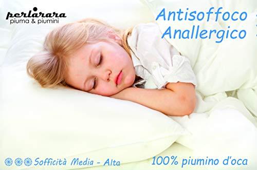 Perlarara – La nueva almohada supersuave para cuna, cojín para bebé, cuna de algodón y plumón 100% pluma de oca antiisofóbico, hipoalergénica, 40 x 60 cm, lavable