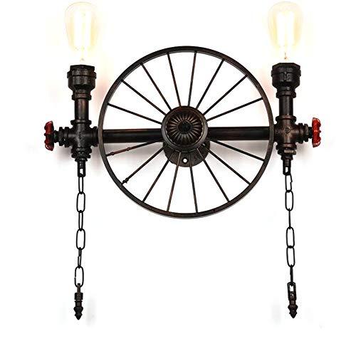Industry Wandleuchte In Schwarz Vintage Aus Metall Rund E27 2-Flammig,Edison Wandbeleuchtung Deckenlampe Für Wohnzimmer Kinderzimmer Treppenhaus Veranda