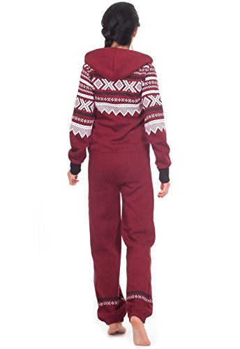 Loomiloo® Jumpsuit Freizeitanzug Overall Hausanzug Einteiler Strampler Body Anzug Jumpsuits Overalls Pyjama Norweger Muster (Weinrot) - 3