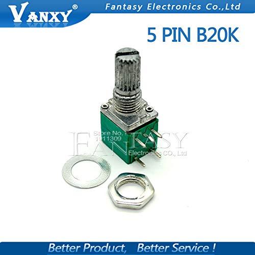 5 unids RV097NS 20K solo potenciómetro vinculado B20K con un interruptor de audio 5 pines eje 15mm amplificador de potencia potenciómetro de sellado