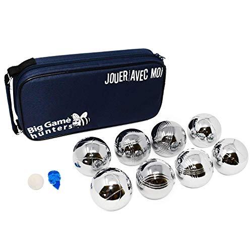 Big Game Hunters Kit de Petanca Jardín de 8 Bolas Cromadas con Protección Libre de Óxido y Lujosa Bolsa de Lona – Juego de para 4 Jugadores