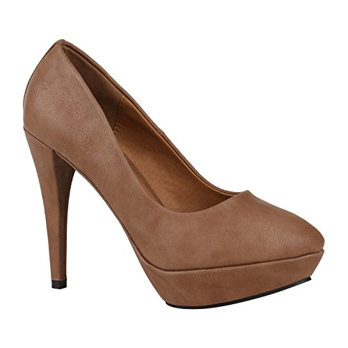Klassische Damen Pumps Plateau High Heels Office Schuhe Gr. 36-41 150544 Khaki Bernice 38 Flandell
