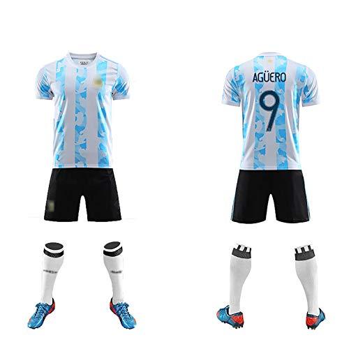 FDSEW Saison 2021 Argentinien Nationalmannschaft Erwachsene Kinder Spiel Fußball Uniformen Fußballtrikot Nr. 9 Aguero Trikot + Shorts M No.9