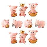 HEALLILY Figurine Miniature de Cochon Mignon Animaux Collectibles Jouet pour fée Jardin Dollhouse bonsaïs Micro Paysage décoration 10 pcs