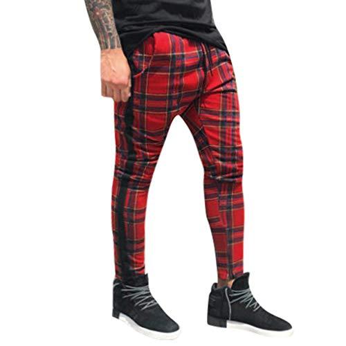 Pantalones de Hombre BaZhaHei Pantalones Deportivos Largos Casuales Pantalones Slim fit a Cuadros Pantalones de chándal para Correr Moda Casual de los Hombres Cuadros de Bolsillo Cadena de Pantalones