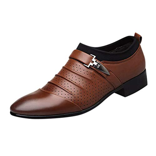 Briskorry business schuhe herren lederschuhe Mode Spitz Beiläufig Atmungsaktiv bequeme elegant leichte Sandalen Faule Schuhe vintage lederschuhe,Braun