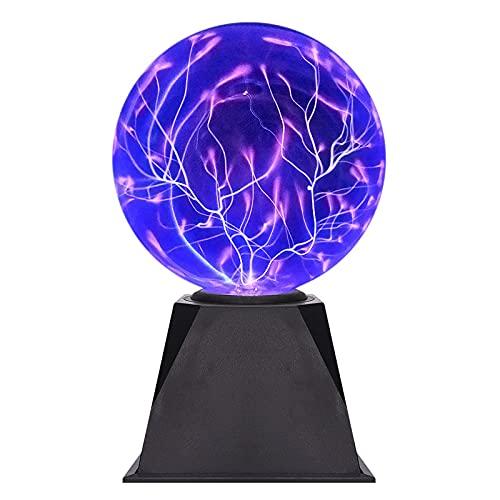 Lámpara De Bola De Plasma De Cristal, Bola De Plasma Activada por Toque Y Sonido Fiesta Bola Mágica Bola Intermitente Electrostática para Prop, Niños, Regalos,4 Inch