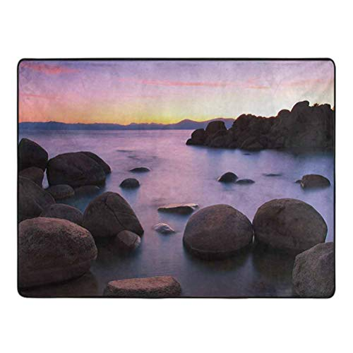 Lake Area Rug shag Long Exposure Still Lake with Big Rocks in Blurred Water and Misty Color Sky Scenery Anti-Slip Home Decor Rugs 5' x 6' Grey Purple