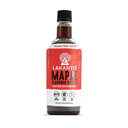Lakanto Sugar Free Maple Syrup - Monkfruit Sweetener, Keto Diet Friendly, Vegan, 1g Net Carbs, Pancakes, Waffles, Oatmeal, Coffee, Tea, Granola, Frosting, Marinade, Dressing (26 fl oz - Pack of 1)