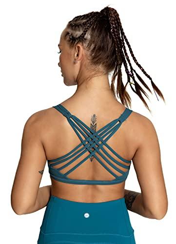 QUEENIEKE Damen Yoga Sport BH leichte Unterstützung Strappy frei BH Farbe Blau-Grün Größe S(4/6)