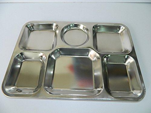sans Plateau Repas Acier Inoxydable avec 6 Compartiments 38cm x 27cm x 2cm