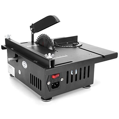 Mini sierra de mesa, buen rendimiento de disipación de calor Sierra de banco multifuncional, para tubo de aluminio Placa de aluminio Fábrica de corte de(U.S. regulations)