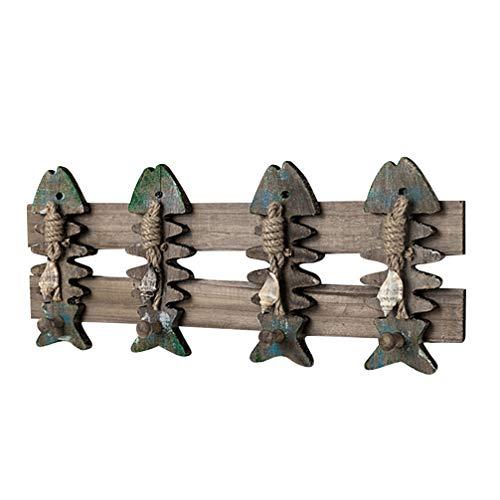 Cabilock Percha de Montaje en Pared Náutica Vintage Perchero Rústico Percha Sombrero Huesos de Pescado Ganchos Náutico Decoración de Arte de Pared