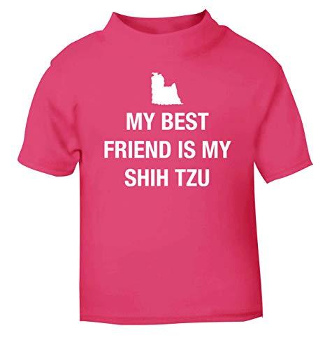 Flox Creative T-Shirt pour bébé Motif Best Friend Shih Tzu Noir - Rose - 2 Ans