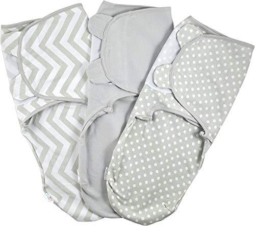 Baby Pucksack Wickel-Decke 220GSM / 1.0 TOG - 3er Pack Universal Verstellbare Schlafsack Decke für Säuglinge Babys Neugeborene 3-6 Monate Grau