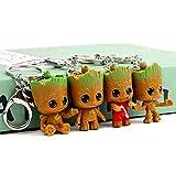 4Pcs Baby Groot Portarelli di Natale Regalo Guardiani di Galaxy Albero Uomo Figura Ciondolo Portabili Miglior Regalo per gli amici dei bambini (4pc groot portachiavi)