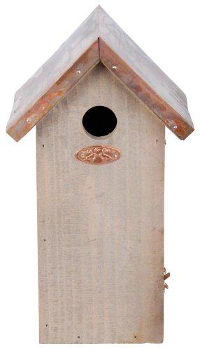 Esschert Design Nistkasten, Vogelhaus Kohlmeise in braun mit Kupferdach, ca. 17 cm x 13 cm x 30 cm