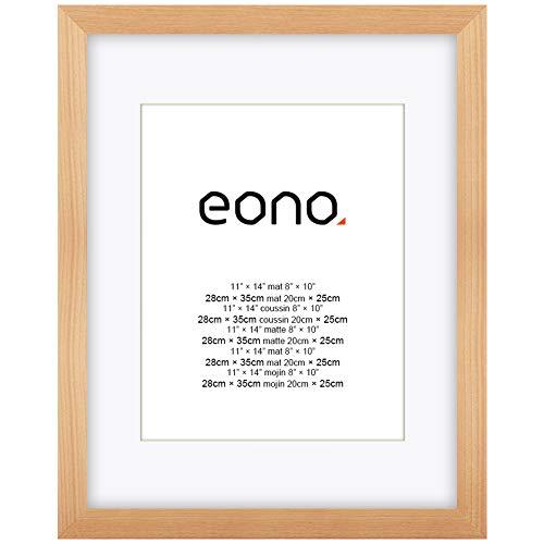 Eono by Amazon - 28x35 cm fotolijst gemaakt van massief hout en hoge-resolutie glas voor fotoformaten 20x25 cm met passe-partout of 28x35 cm zonder passe-partout wandhanger fotolijst natuur