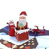 Tarjeta de Navidad emergente 3D hecha a mano entrega de regalos de chimenea de Santa Claus noche de silencio noche reno trineo cabaña copos de nieve país vintage árbol