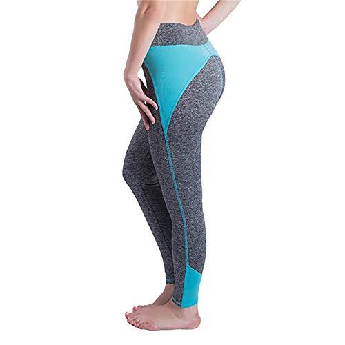 SPECIALOFFERKYZ Pantalones de yoga, cintura alta, sin costuras, para correr, gimnasio, entrenamiento, control de cintura y abdomen. (leggings flexibles, de cintura alta, tallas S-XL) Verde Gris S