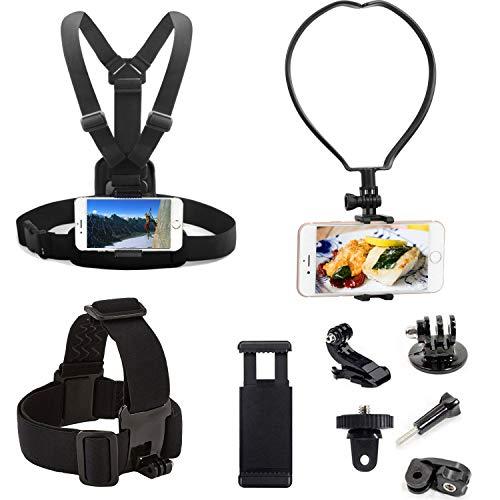 Yoogeer VLOG/POV Adjustable Cellphone Selfie Chest Head Neck Mount Holder Strap for Action Camera/Gopro Hero/Apple iPhone SE 11 Xs X 8 7 Samsung Galaxy S20 S20+ BLU Phone (Chest + Head + Neck Mount)