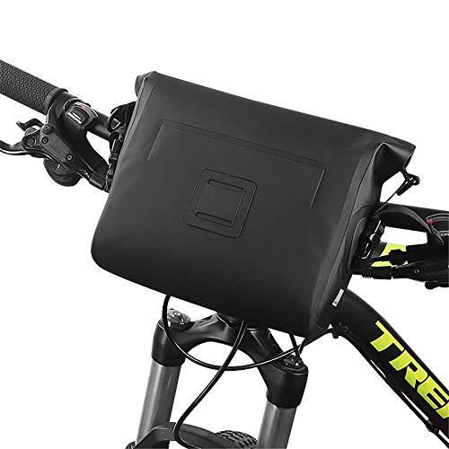 Bike Handlebar Bag Bicycle Front Bag Frame Bag Bicycle Front Bag Mountain Bike Bag for Road MTB Outdoor (Color : Black, Size : 27X21.5X9CM)