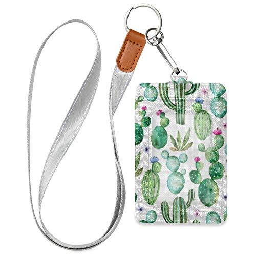 HMZXZ Tarjeta de identificación con diseño de cactus y flores moradas con cordón desmontable llavero de piel sintética vertical para mujer y hombre, profesora y trabajadora estudiante