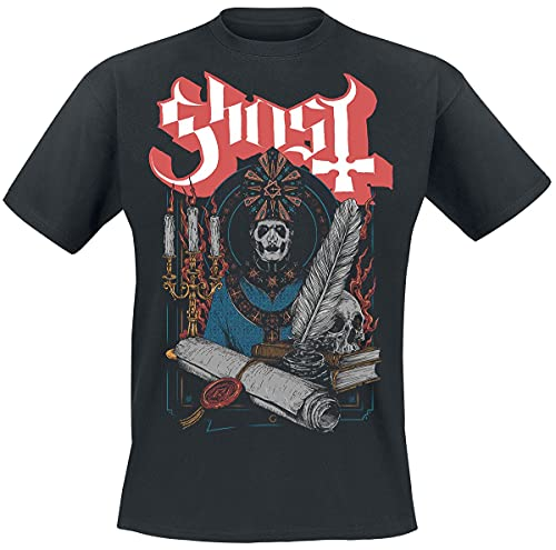 Ghost Scroll and Seal Hombre Camiseta Negro XXL, 100% algodón, Regular