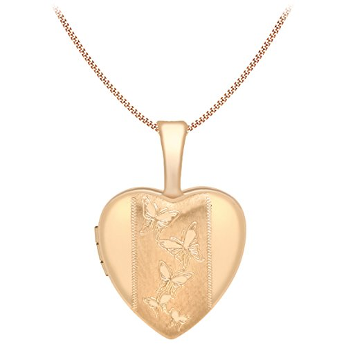 Carissima Gold Women's 9 ct Rose Gold Heart Butterfly Locket Pendant on Curb Chain Necklace of Length 46 cm
