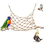Tfwadmx Natural Bird Rope Net, Large Size - 24''X24'' Parrot Swing Hammock, Bird Climbing Ladder Hanging Cage Perch Chew Toys for Budgies Macaw Conure Finch Cockatoo Budgie African Grey Parakeet