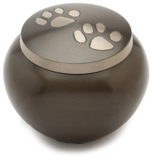 Urns UK Chertsey Gedenkurne für Haustiere 10,2cm 2-Pfoten-Motiv Zinnoptik Schwarz