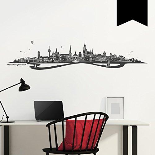 WANDKINGS Wandtattoo Skyline Mönchengladbach mit Fluss 120 x 26 cm - Schwarz - 35 Farben zur Wahl