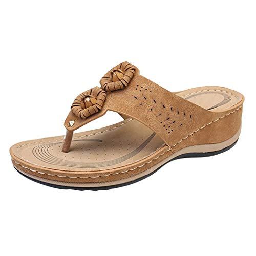 LHWY Chanclas Cuña Mujer Verano Sandalias Plataformas Antideslizantes Casual Zapatos de Playa y Piscina (37EU, Amarillo)