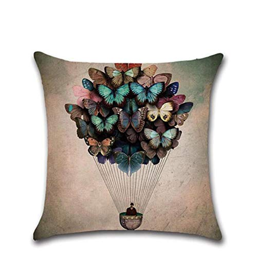 Schwenly - Federa decorativa per cuscino quadrato in lino, fantasia con farfalle, accessorio decorativo per divano, colore: tortora