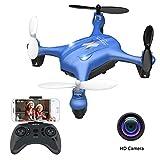 ATOYX AT-96 FPV Mini Drohne, Mit HD Wi-Fi Kamera App Steuerung Live Übertragung Automatische Höhenhaltung, Headless Modus 3D Flip Helikopter Ferngesteuert für Anfänger und Kinder (Blau)