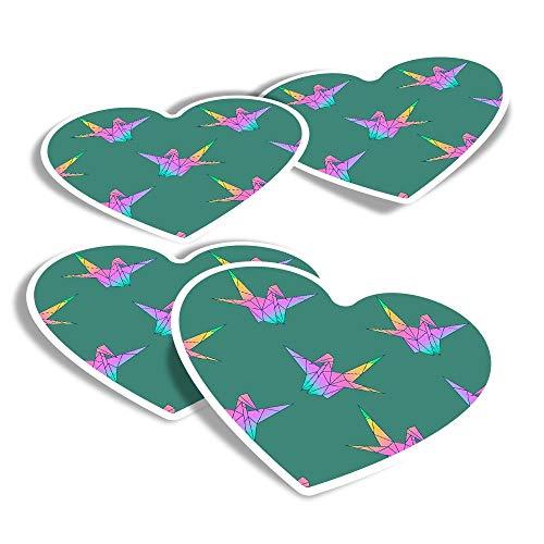 Pegatinas de vinilo con forma de corazón (juego de 4) – Pegatinas japonesas de cisne origami divertido para ordenadores portátiles, tabletas, equipaje, reserva de chatarra, frigoríficos #12938