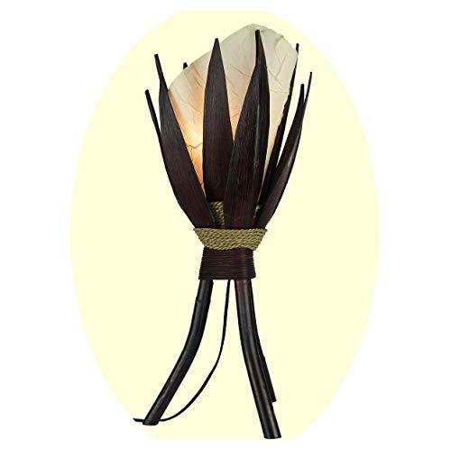 """Stehleuchte Bali Lampe in weiß 67x24cm • außergewöhnliche Standleuchte aus Bananenblättern • Stimmungslicht aus traditioneller Handarbeit • asiatische Dekolampe • Stimmungsleuchte """"Bananenblatt"""""""