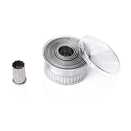 WAS 1696 012 Lot de 12 emporte-pièces ronds ondulés en acier chrome-nickel 5,5 cm