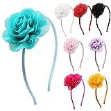 Candygirl Flower Headband For Girls Wedding Festival Parties Floral Hairband (8 Rose Flower)