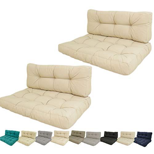 Edenjardi Pack 2 Cojines para palets, Cojín de Asiento 80x120x16 cm + cojín Respaldo 42x120x16 cm, Lux Color Crema, Repelente al Agua