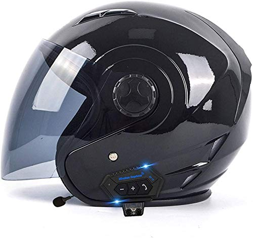 Casco De Motocicleta Bluetooth Con Visera Medio Casco Casco Abierto De Motocicleta Casco De Moto Retro Cruiser Aprobado Por ECE/DOT Casco De Moto U,L