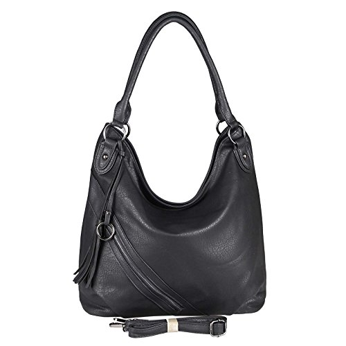 OBC Damen Hand-Tasche Schultertasche Shopper Umhängetasche Henkeltasche Beuteltasche Hobo Bag (Schwarz 42x33x13 cm)