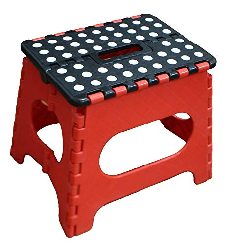 Jeronic Super Strong Folding Step Stool for Adults and Kids Red Kitchen Stepping Garden Step Stool Holds up to 300 lbs