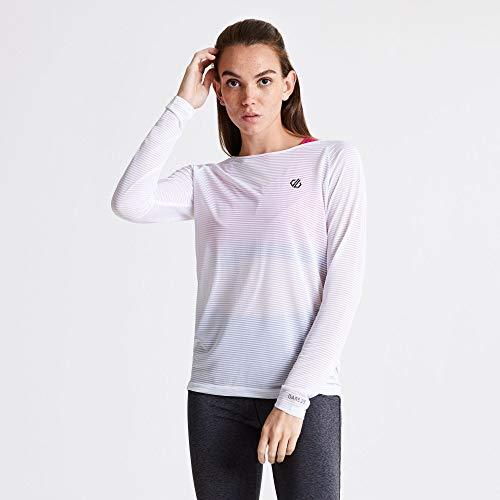 Dare 2b T- Shirt Manches Longues Praxis Extensible, léger et Respirant avec avec proprété de séchage Rapide et Ouverture au Dos Polos/Vests Femme, White, FR : L (Taille Fabricant : 14)
