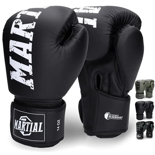 Martial's Boxningshandskar av Massivt Material för Lång Hållbarhet - Kickboxningshandskarna för Kampsport, MMA, Sparring och Boxning med Optimal Stötdämpning - Hög Bekvämlighet och inkl. Väska