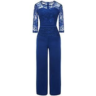 Misschicy Women's 3/4 Sleeve Round Neck Lace Top Mesh Elegant Wide Leg Long Pants Party Jumpsuits Romper Blue Large